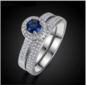 915bd2c5d9 ❆❆SHUANGR Party Jewelry Ring Set Silver-Color Round Crystal Rings Stackable  Wedding Bague